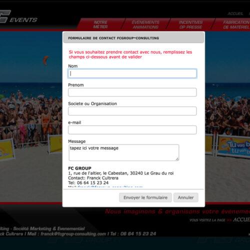 Page formulaire Evènements
